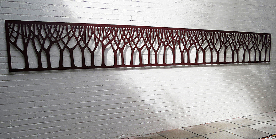 Photo showing laser cut 'Forest' design